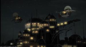 Gridania airship port at night