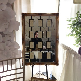 Mirrored seating chart. These are a GREAT alternative to place cards. Especially if your getting married outside and worry about the card blowing all over.