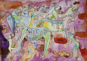 Bear Shield Taming the Wild Horses: A Cave Painting Watercolor