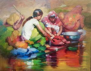 """Original Oil Painting by Emin Abbasov """"Girls By Water's Edge"""""""