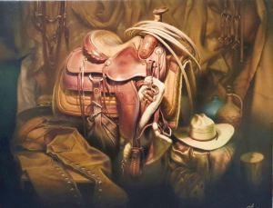 Emin Abbasov Signed Saddle Still-life Giclee