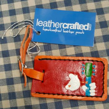 Kathy Thomas Handtooled leather Woodstock Icon on Luggage Tag