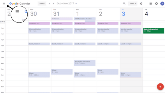 Google Calendar Dropdown Menu