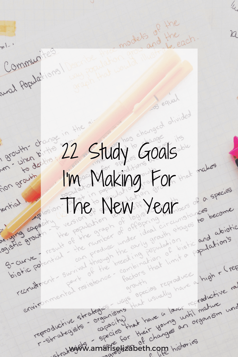 22 Study Goals I'm Making For The New Year