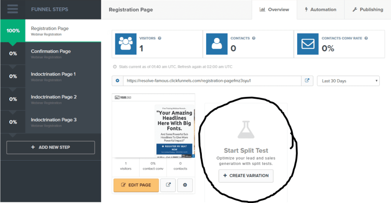 adding A/B (split) testing in Clickfunnels
