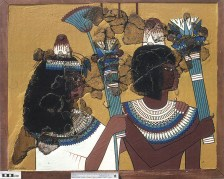 A colourful scene emerges: Fran's reconstruction of one of the plaster groups showing a woman and man dressed in finery, holding floral bouquets. The scene fits a context in which the chapels were used for private ancestor worship, alongside the veneration of gods such as Isis, Shed and even Amun. The painted plaster from the chapels was published as an Egypt Exploration Society monograph in 2007: ees.ac.uk/excavation-memoirs.html