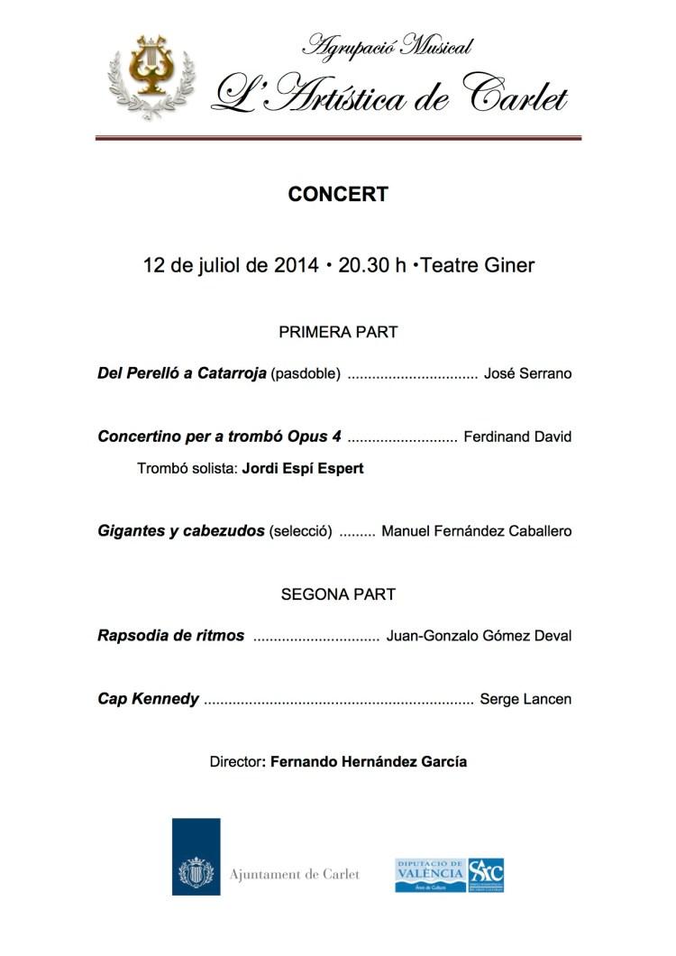 Programa del Concert del 12/07/2014