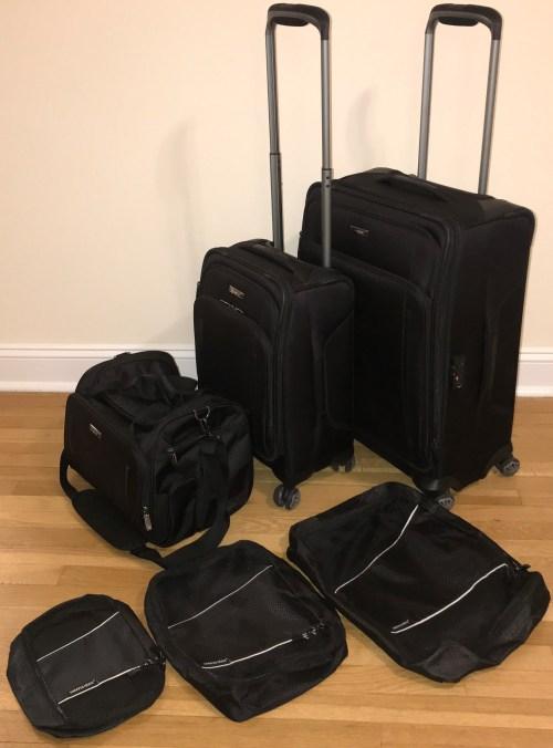 Samsonite Silhouette XV Medium International Carry On Boarding Bag With Sharper Image Travel Cubes