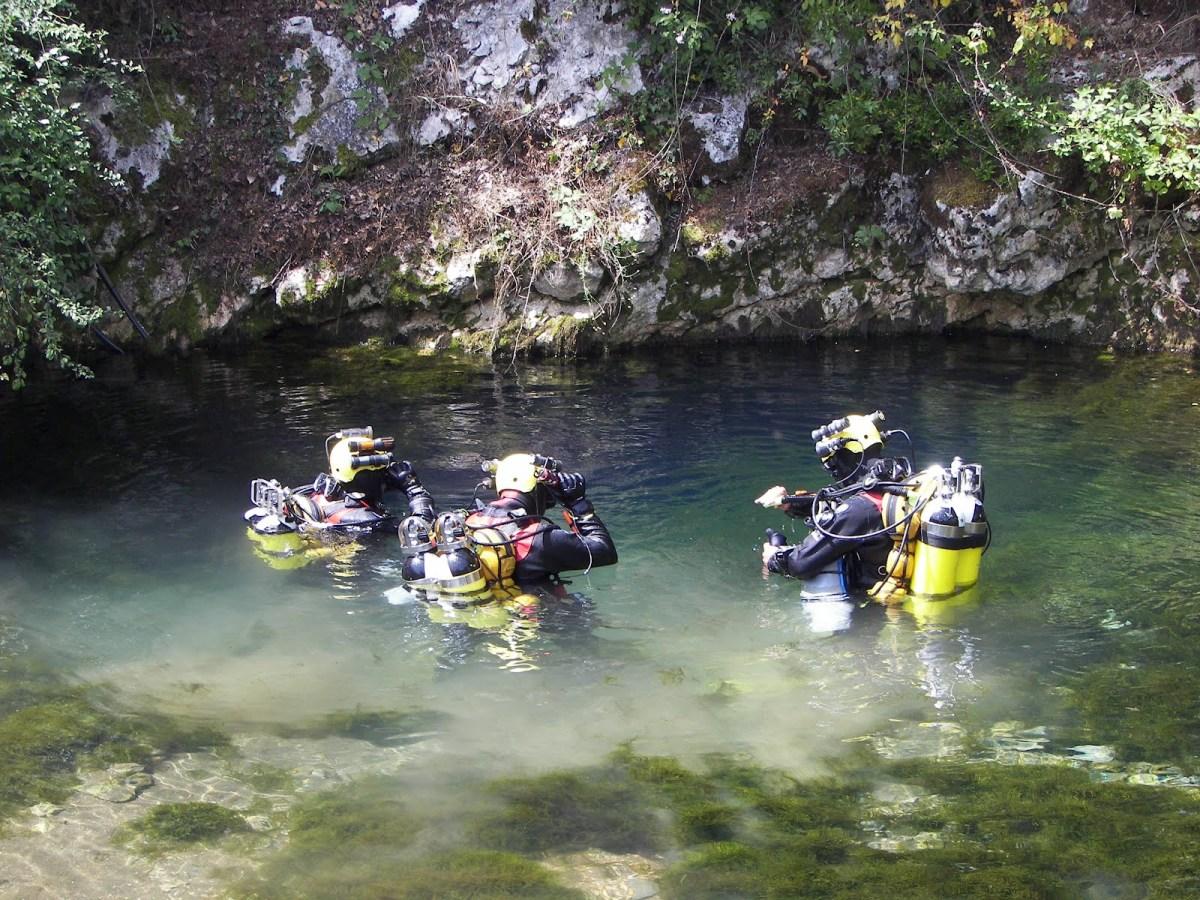 Risorgenza di Capodacqua, dove si allenano gli Speleo Sub dei Sommozzatori  dei Vigili del Fuoco