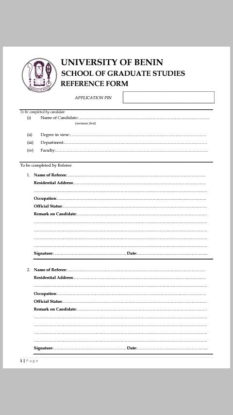 UNIBEN Postgraduate Admission General Requirements