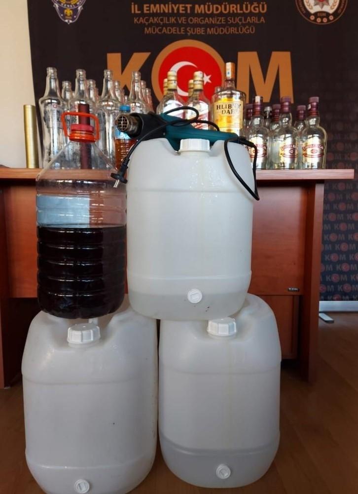 Amasya polisinden sahte içki operasyonu