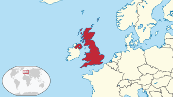 United Kingdom in Europe map