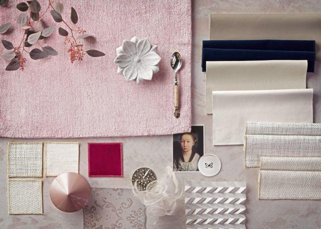Una moodboard di colori neutri e rosa