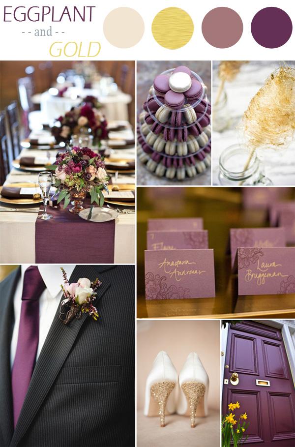 palette colori matrimonio autunno viola e oro