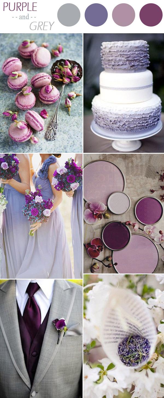 palette colori matrimonio viola e grigio