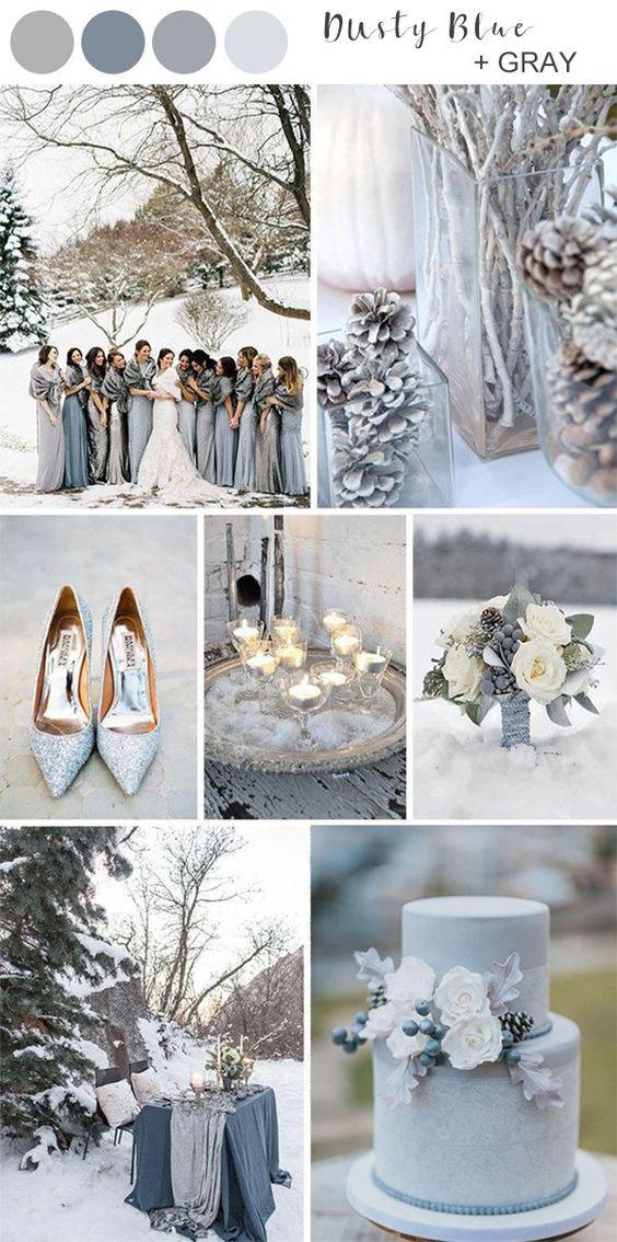 Palette colori dusty blue e gray per il matrimonio invernale