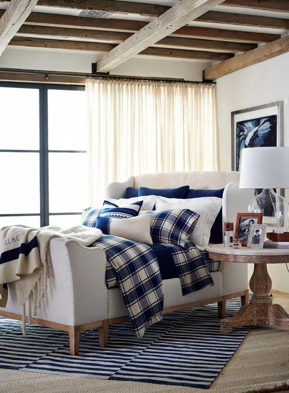 Tartan blu e bianco per la camera da letto