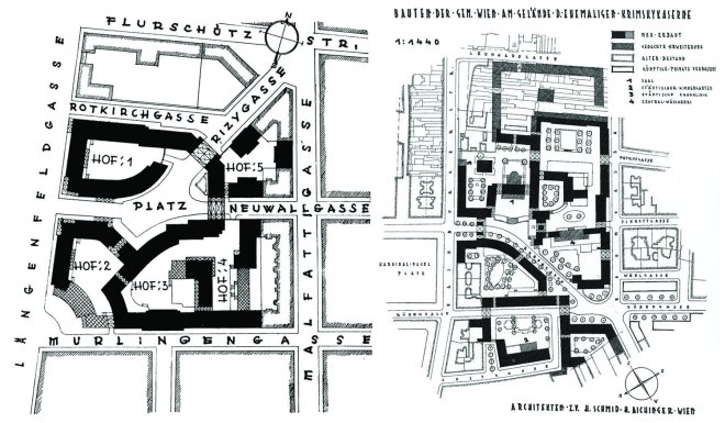 Plan view of two Gemeindebauten in Vienna, highlighting how they integrate seamlessly with the existing urban form.