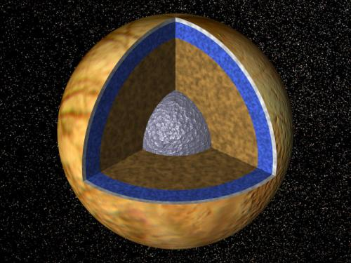 cut away view of Europa's apparent interior structure