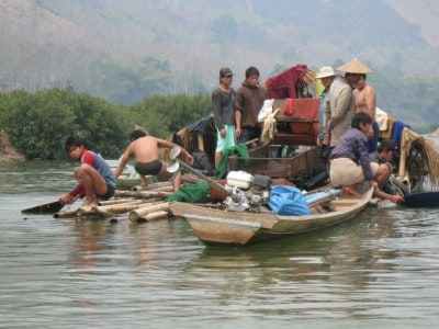 Panning for gold on the Nam Ou River, Laos