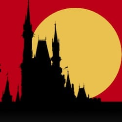 Snow White's iconic castle is outlined in the moon for this travel guide