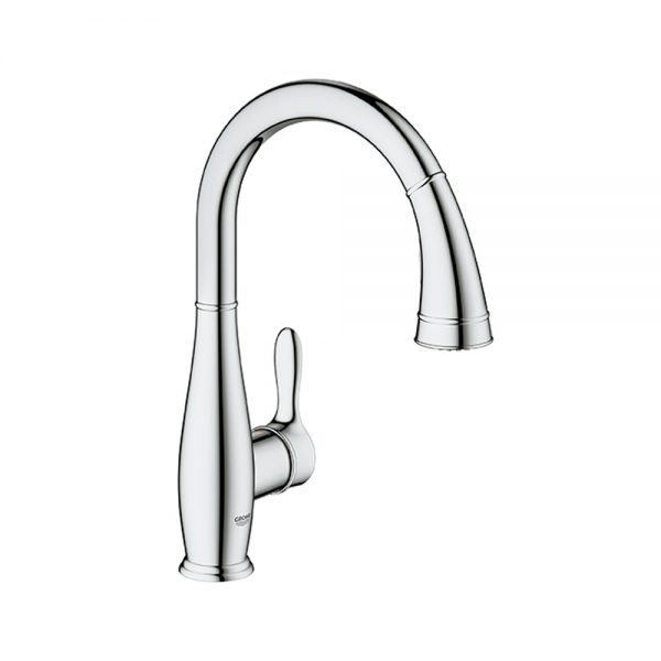grohe parkfield pull down 360 swivel area faucet for kitchens