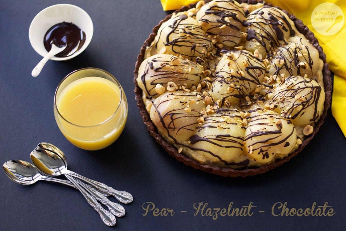 pear hazelnut chocolate tart