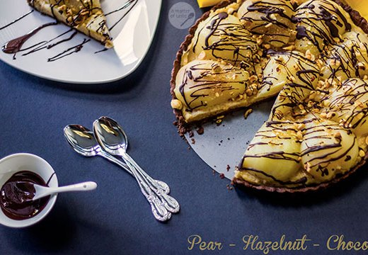 pear hazelnut chocolate tart