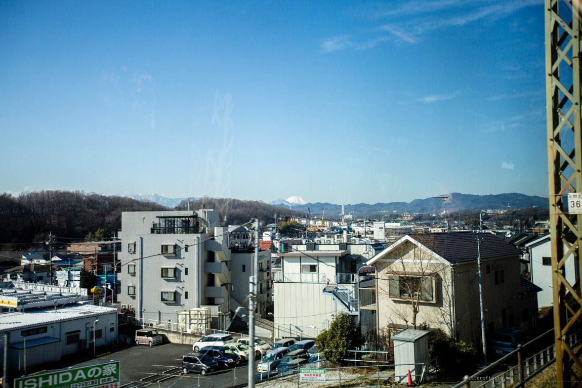 mt fuji seen from keio line train