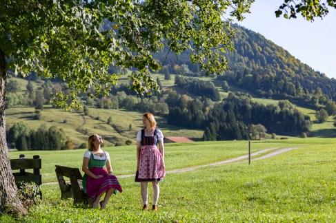 Helga Greta dirndl dress German road trip Bavaria tree