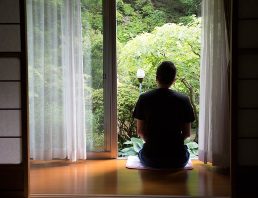 A serene Japanese scene. Wide open paper sliding doors, wooden floor and a man seating by the window with his back to us and facing a green garden.