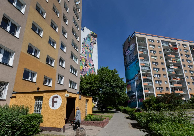 3 concrete residential buildings in Zaspa with two huge murals visible on sides of them. There is also a local woman entering one of the buildings with her dog.