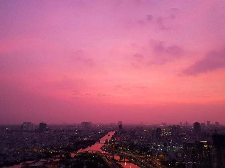 Saigon district 4 pink purple sunset