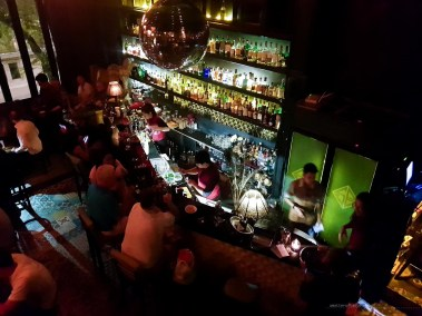 Busy night at Snuffbox. bird's eye view of the bar area.