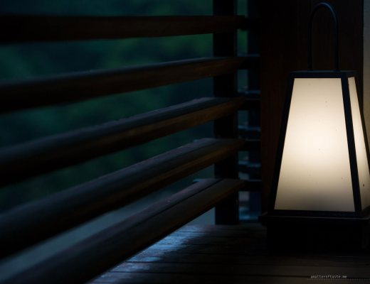 Our private bath ryokan room featured a balcony with traditional-looking lamps addidng to the relaxing and romantic mood.