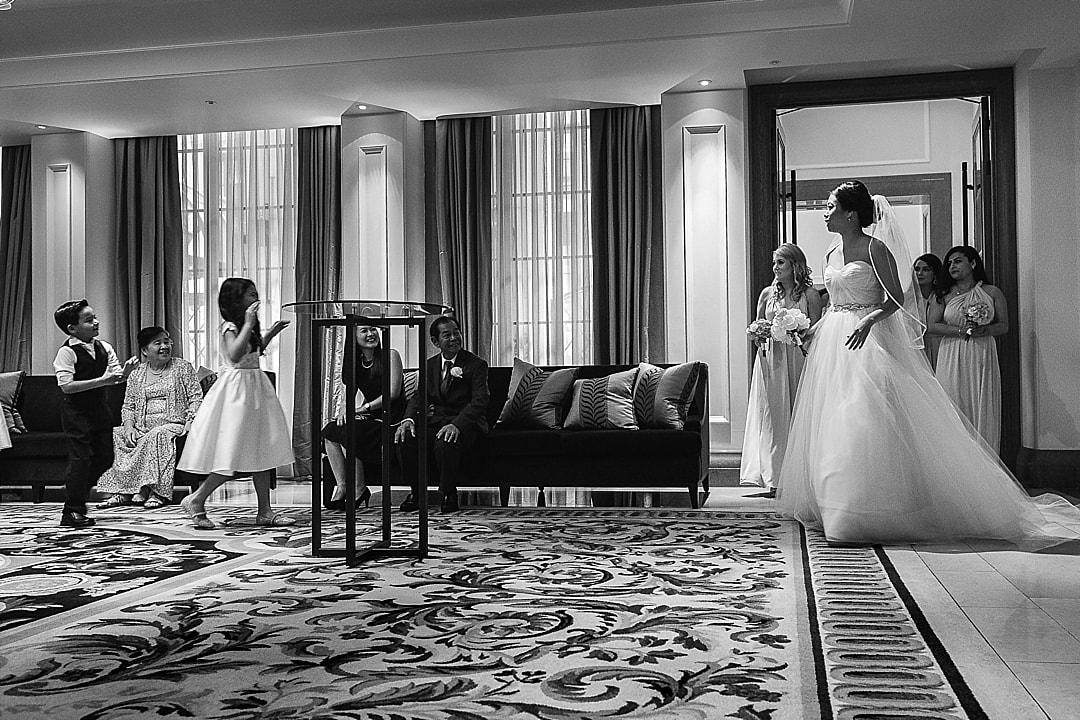 Corinthia Hotel Wedding Photographer arrival of the bride for the wedding ceremony