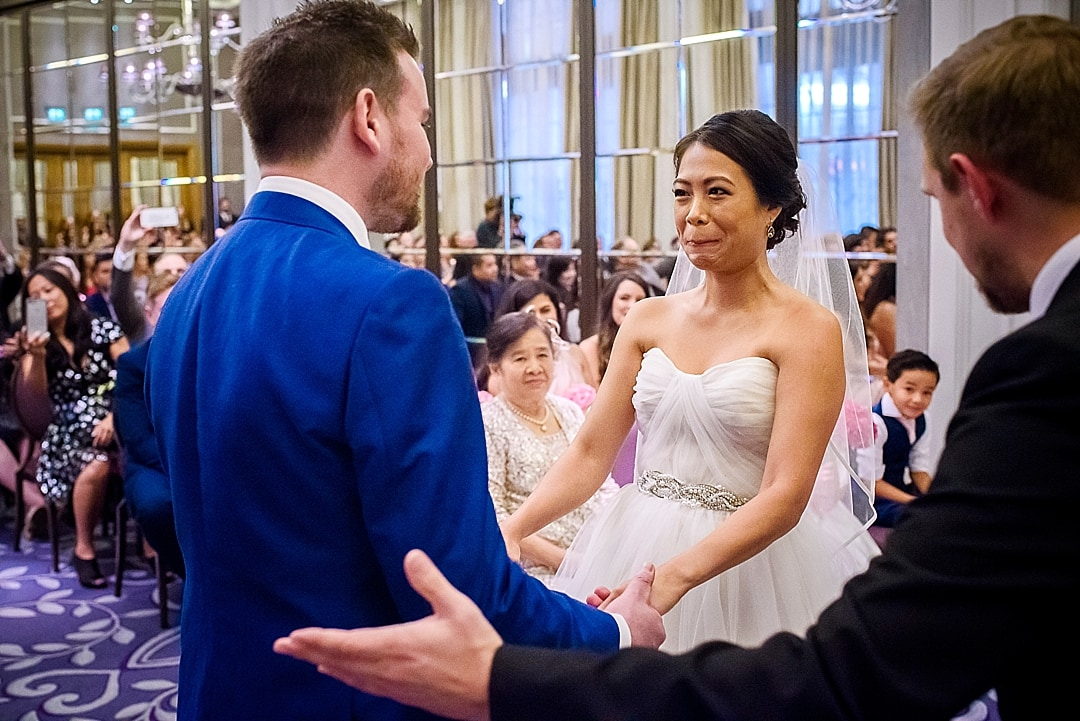 Corinthia Hotel Wedding Photographer bride and groom joyous after being married