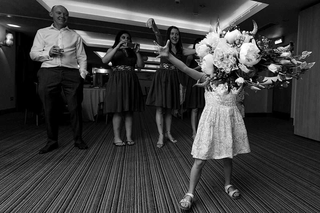 Catching the Bouquet The Watermill Hotel Wedding PhotographySneak Peek