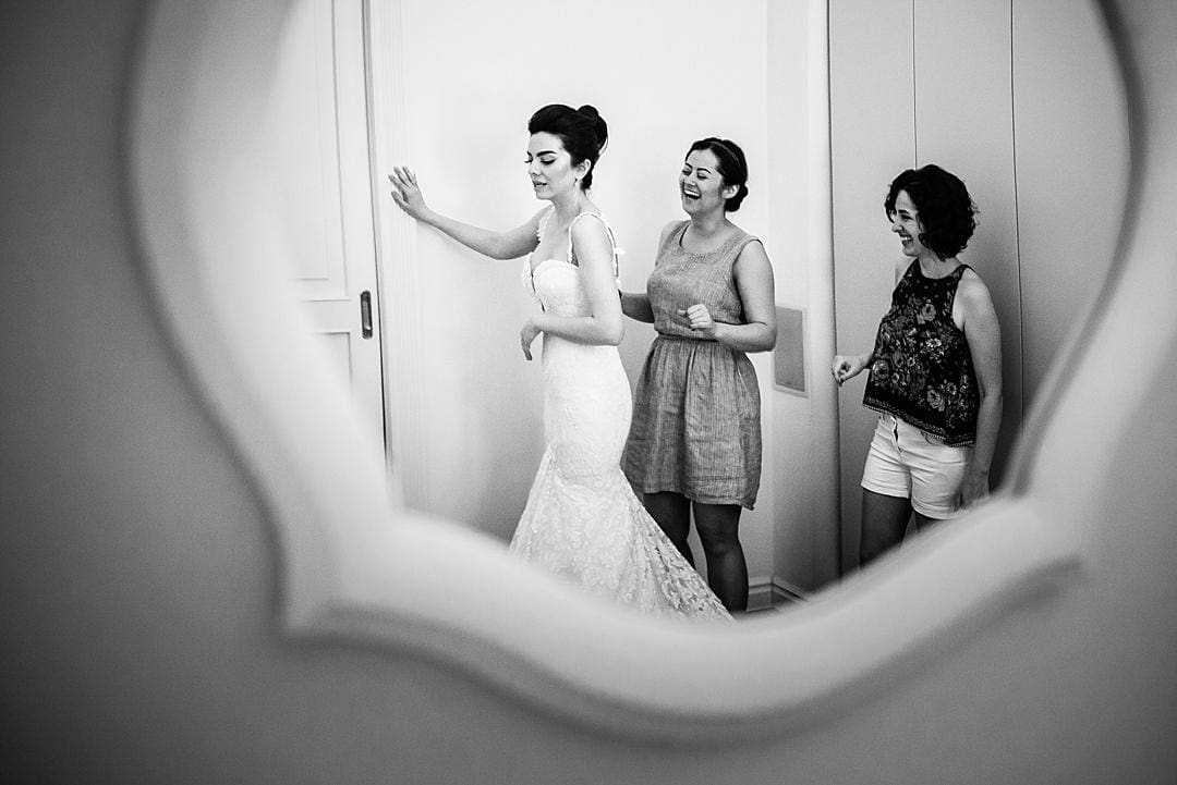 Bride getting ready mirror reflection at Lake Como