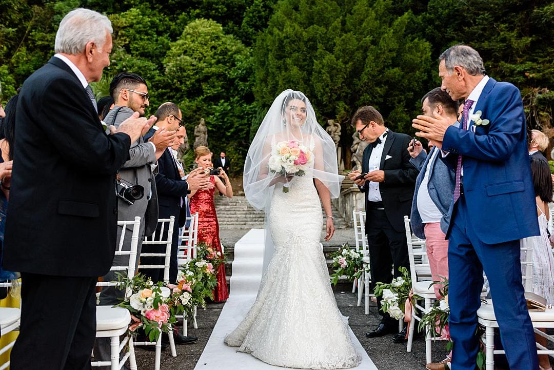 Bride arriving for Marriage Ceremony at Villa Pizzo Lake Como