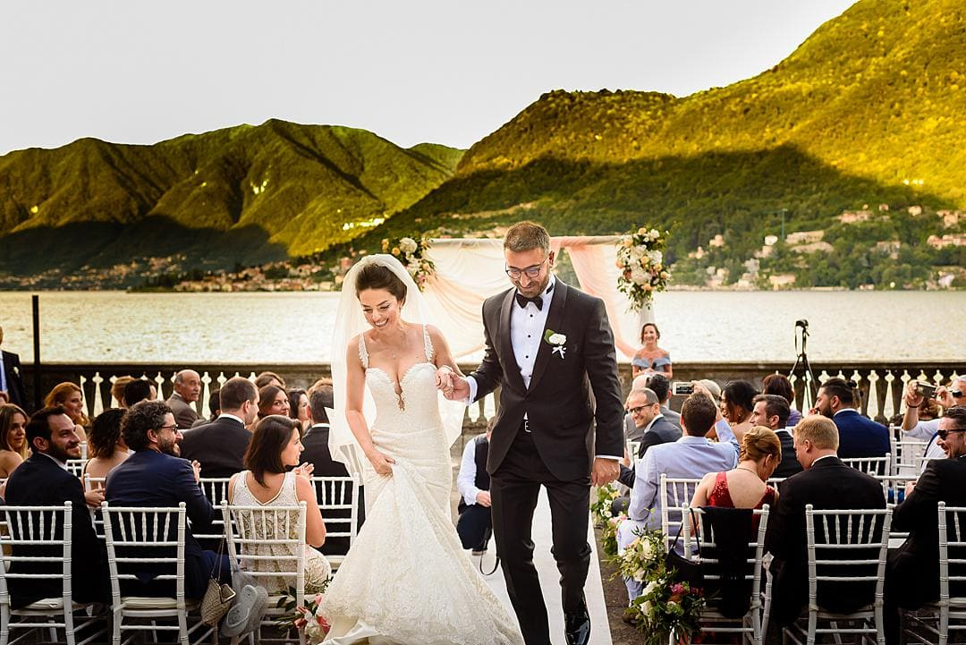 Just Married Marriage Ceremony at Villa Pizzo Lake Como