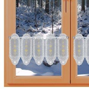 Weihnachts-Wintergardine Goldsterne weiß-gold