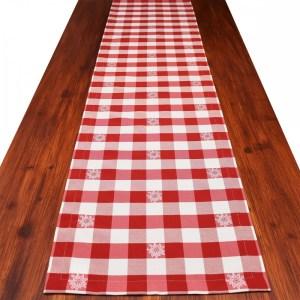 Landhaus-Tischdecke Edelweiß kariert Rot
