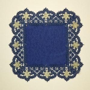 """Deckchen """"Verena"""" Plauener Spitze blau-gold Tischdeko Sterne SONDERPREIS"""
