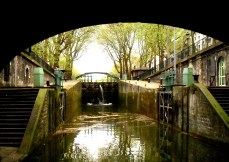 This is the wonderful view greeting the traveller after leaving the tunnel at the start of the Canal Saint Martin. I snapped this in spring the first time I experienced this delightful and surprising glimpse of lesser known aspect of Paris.