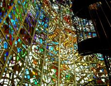 Produced by Nobutaka Shikanai, with sculptured glass by Gabriel Loire, and reliefs by Atsushi Imoto, this 18 metre high tower of stained glass is a wonder of art and engineering.