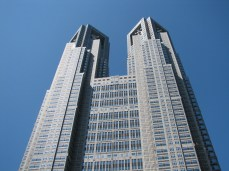 A lucky shot of the Tokyo Metropolitain Government building I snapped on a rare cloudless and smog free day in Tokyo.
