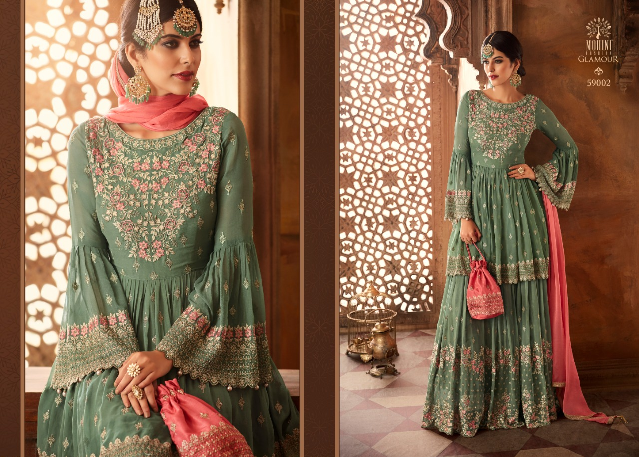 bd2d57c7df MOHINI PRESNTS GLAMOUR 59 NX BEAUTIFUL SHARARA STYLE PARTY WEAR SUIT COLLECTION  AT WHOLESALE PRICE. DOWNLOAD ZIP