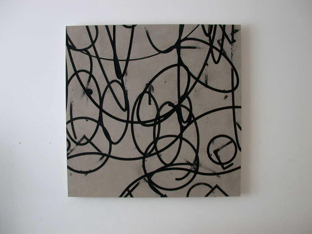 Flatwork 3, Untitled, black ink, enamel & homasote