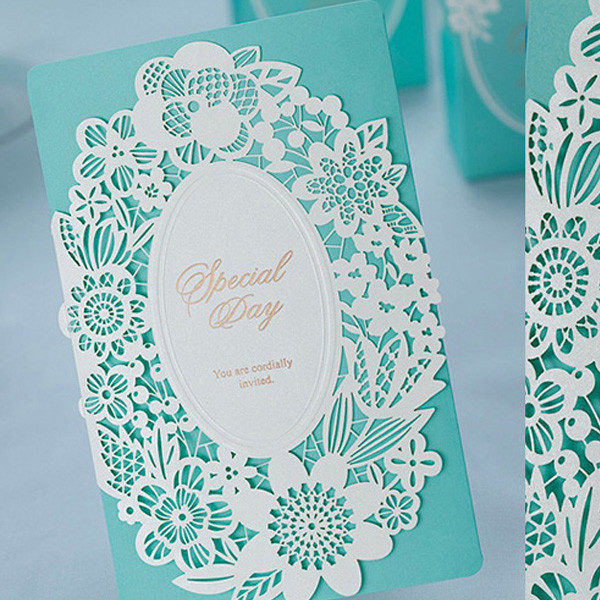 Classic Tiffany Blue Laser Cut Lace